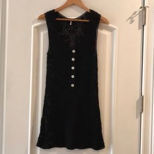 Free People black crochet long tank, small